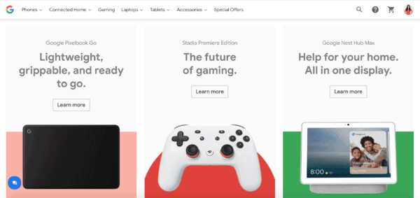 Best UX Websites featuring Google Shopping brought to you by WANDR Studio