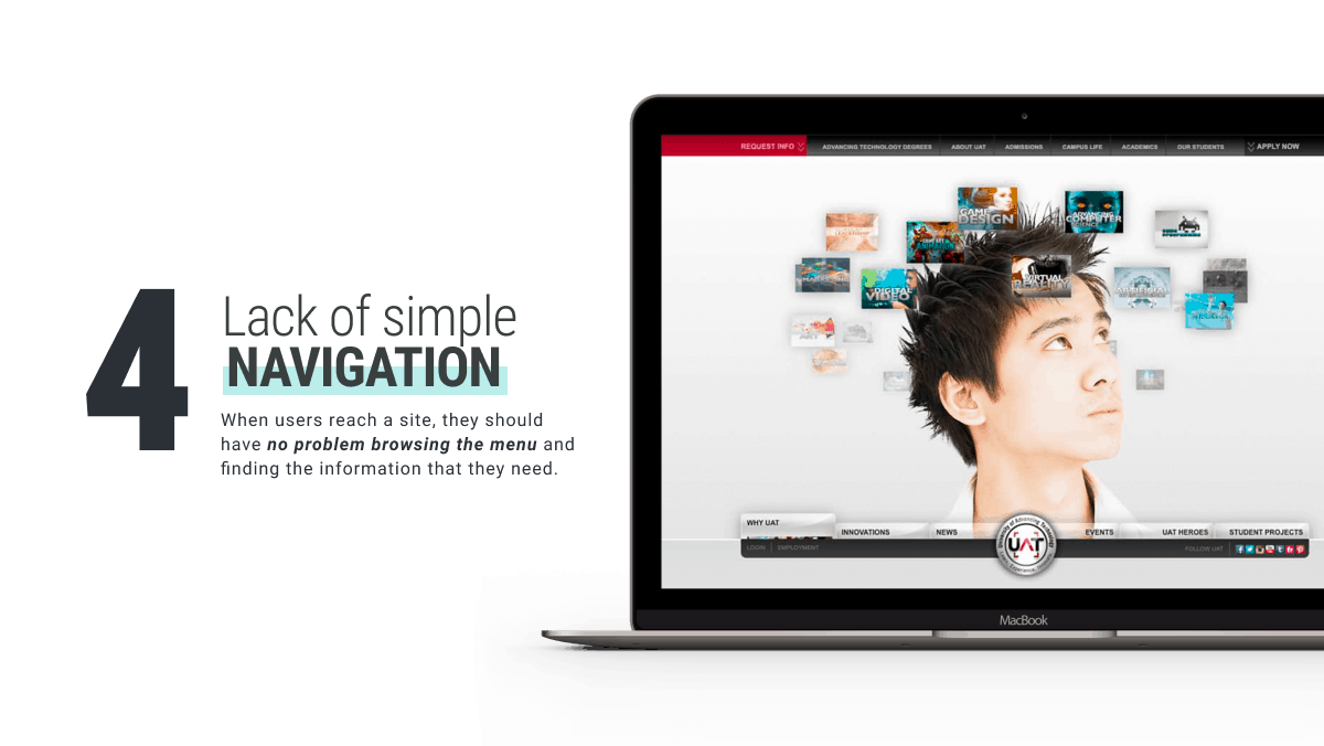 Lack of Simple Navigation and Links bad websitedesign by WANDR award-winning Design Agency and Product Strategy