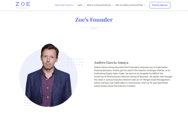 ZoeFin featured as Best Looking Website designed by WANDR Studio