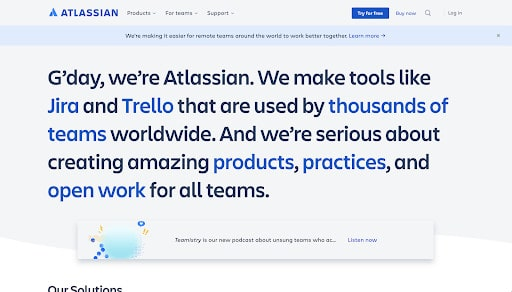 Atlassian is one of the Best Looking Websites shared to you by WANDR, awarded as #1 Product Strategy and UX Design Agency by Clutch