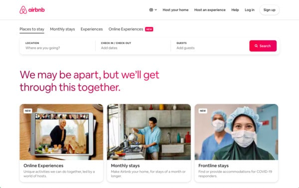 Airbnb featured as one of the well designed websites because of it's design systems chosen by the expert designers of WANDR Studio UX Design Firm from LA